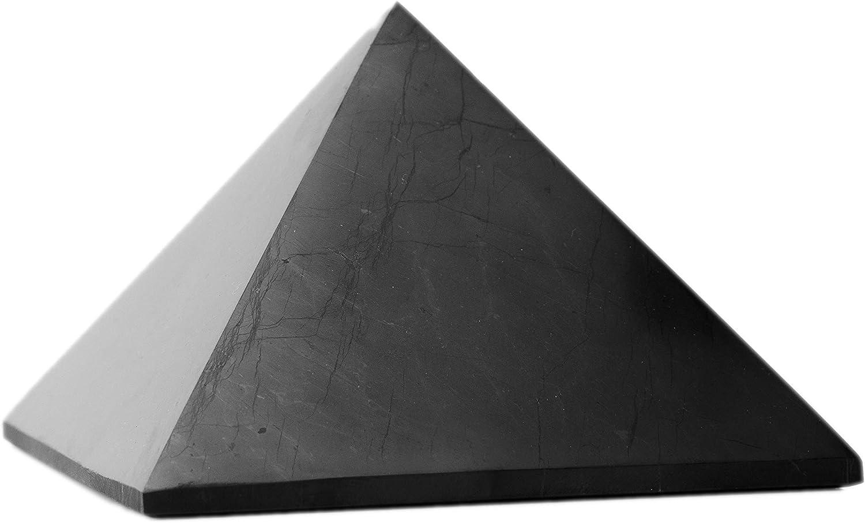 SHUNGA-STONE Shungite Pyramid Healing EMF Protection Black Triangle Polished Authentic Karelian Genuine Pyramids Crystal(1.9 inch (Premium Package))