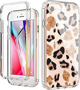 YiYiYaYa for iPhone 6 6S 7 8 Case, iPhone SE 2020 Case with Built in Screen Protector, Clear Floral Pattern for Girls Women, Full Body Shockproof Case for iPhone 6/6s/7/8/SE 2020 Leopard G