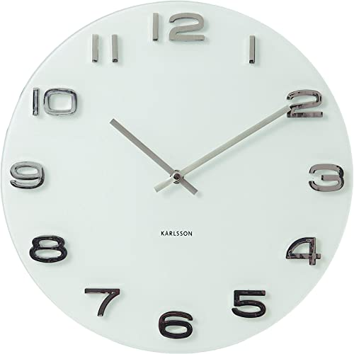 Karlsson Vintage Wall Clock, White – Modern Decorative Round Clock for Home Decor