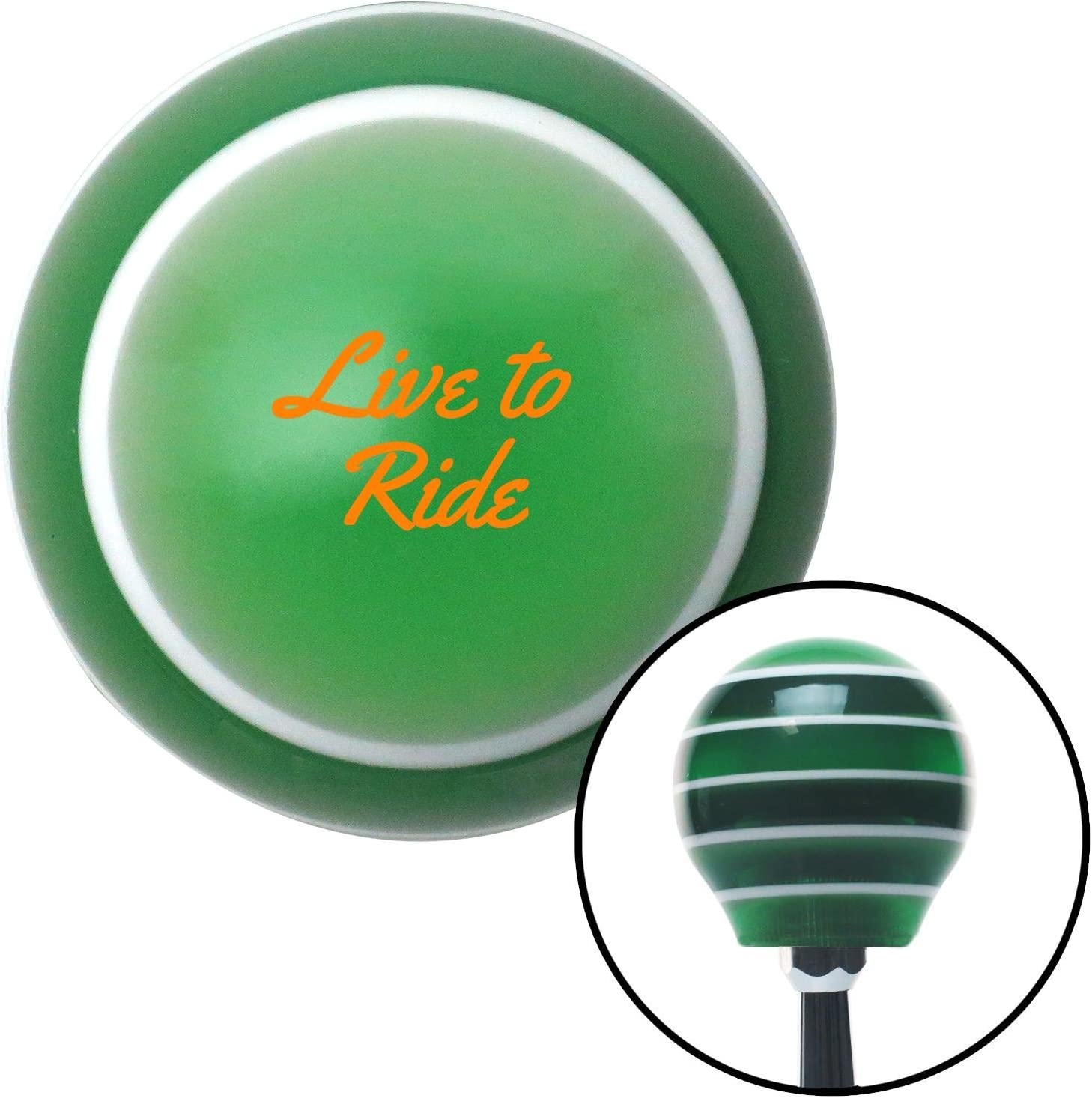 American Shifter 275085 Shift Knob Orange Live to Ride Green Stripe with M16 x 1.5 Insert