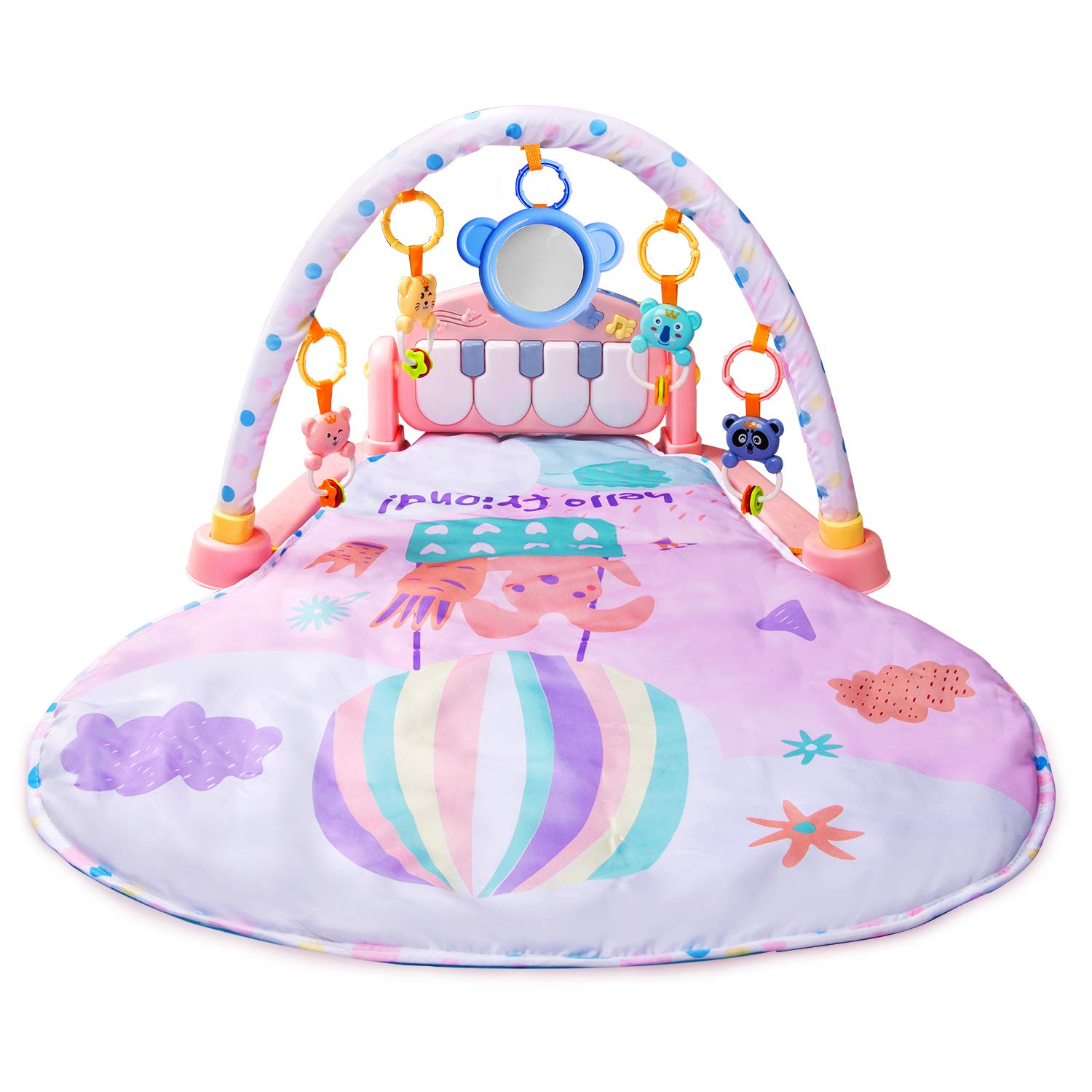Large Baby Play Mat BATTOP Kick and Play Piano Gym – 5 Toys and Musical Activity Baby Gym for 0-36 Month Boys and Girls Pink