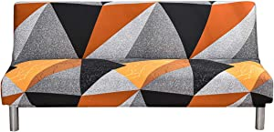 Stretch Futon Slipcover Armless Sofa Bed Cover Spandex Modern Folding Sofa Couch Furniture Protector Without Armrests for Living Room Home Decor (Yellow Black)