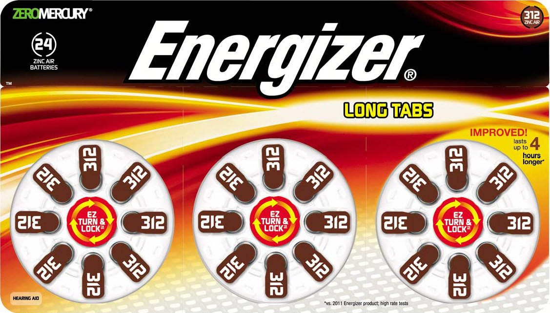 Energizer Zero Mercury Long Tabs EZ Turn and Lock Pack Hearing Aid Batteries, Size 312, 24 Count
