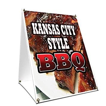 """A-frame Sidewalk Kansas City Style Bbq Sign With Graphics On Each Side 