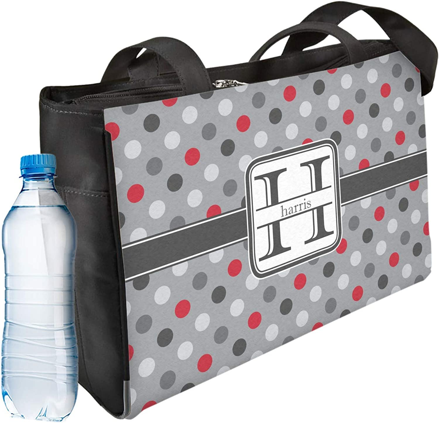 Red /& Gray Polka Dots Ladies Workout Bag Personalized Front