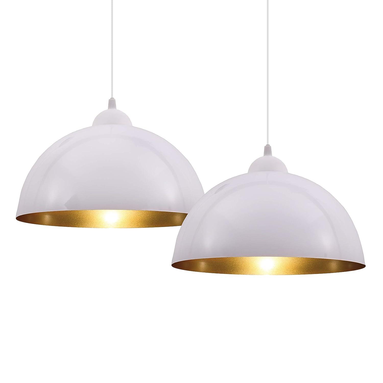 BKLicht Set de lámparas de techo colgantes para interiores, requieren bombilla E27 LED, max. 60 W, 230 V, índice de protección IP20, color blanco y ...