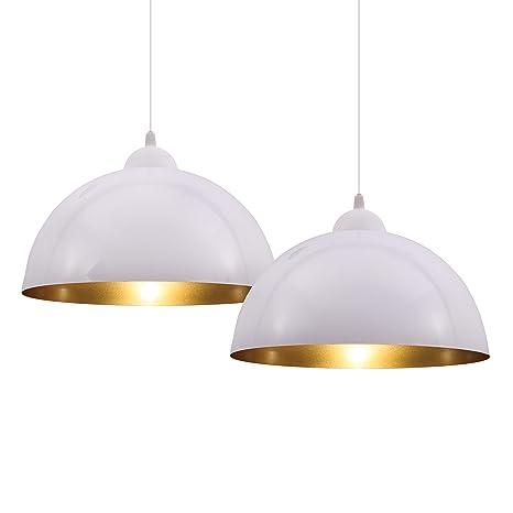 2 Lámparas Colgantes I Lámparas de Suspensión LED de Diseño Vintage Industrial I Φ 30 cm para luces E27 I en Negro o Blanco (a elegir) I Para Salón I ...