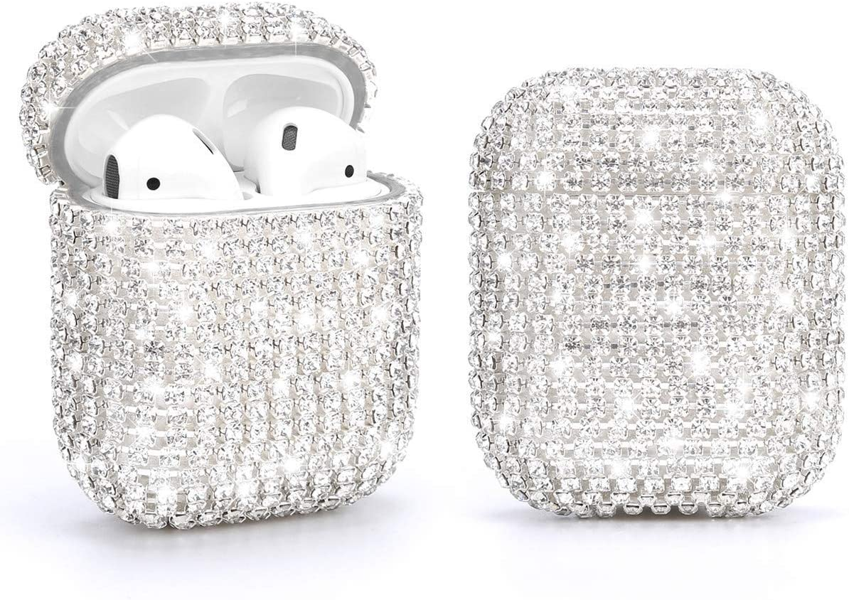 SKINEAT Diamond Airpods Case Cover Protective Airpods Charging Cases Hard Carrying Case Accessories for Apple Airpods 2 & 1,Bling Diamond Airpods Case Cover Glitter Cute Airpod Accessories