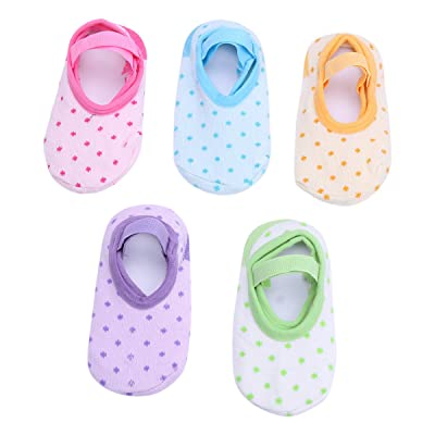 TiaoBug 5 Pair Unisex Baby Polka Dot Anti Skid Grip Socks for 6-24 Months : Baby