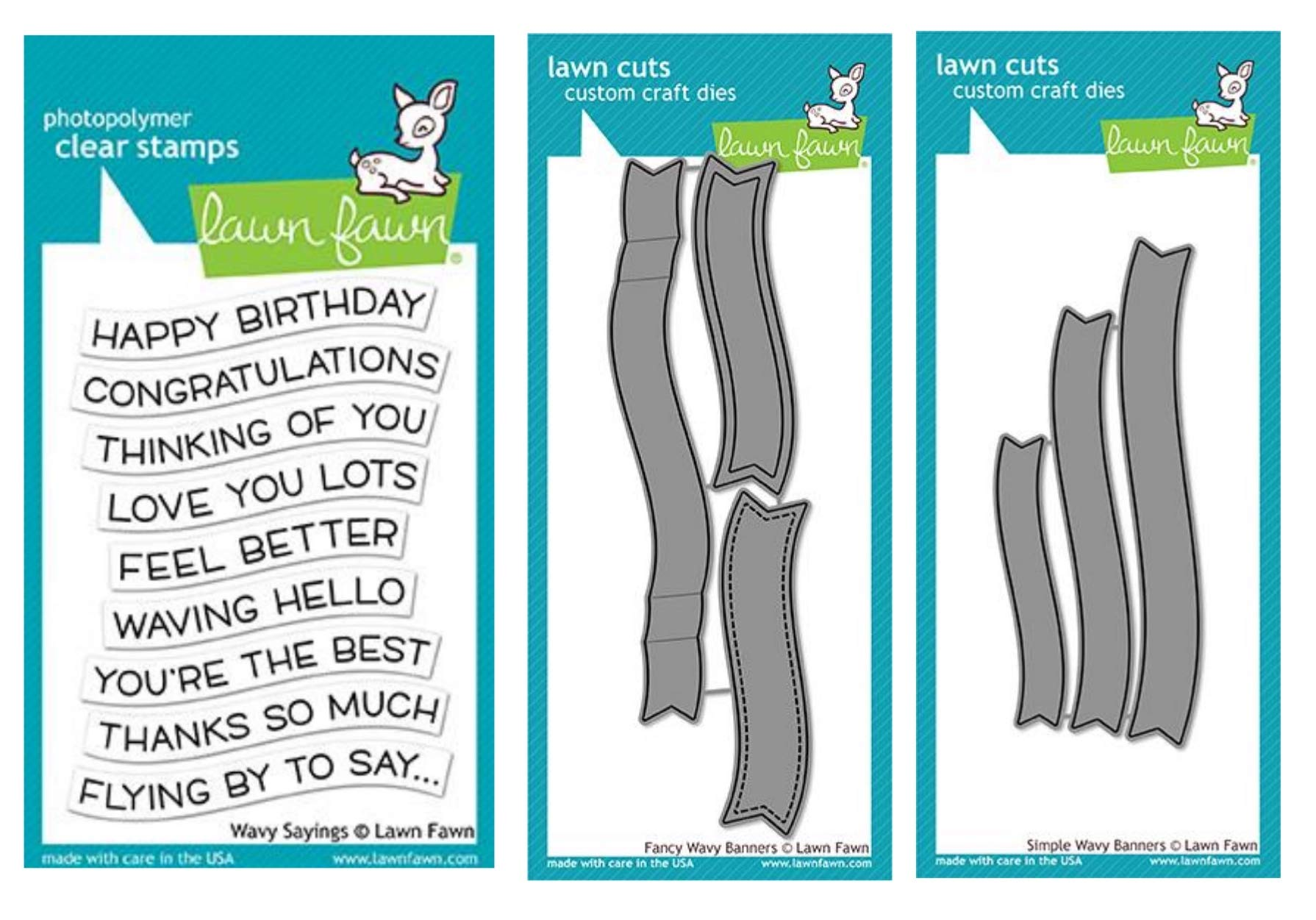 Lawn Fawn Wavy Sayings Clear Stamp, Fancy Wavy Banner Dies, Simple Wavy Banner Dies, Bundle of Three Items (LF1899, LF1923, LF1924) by Lawn Fawn