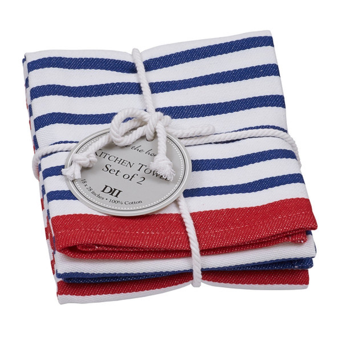 DII Design Imports Nautical Striped Dishtowel Set of 2 One of Each Stripe Design Tied Together Cotton Rope Hang Tag 18 X 28100/% Cotton Kitchen Towel