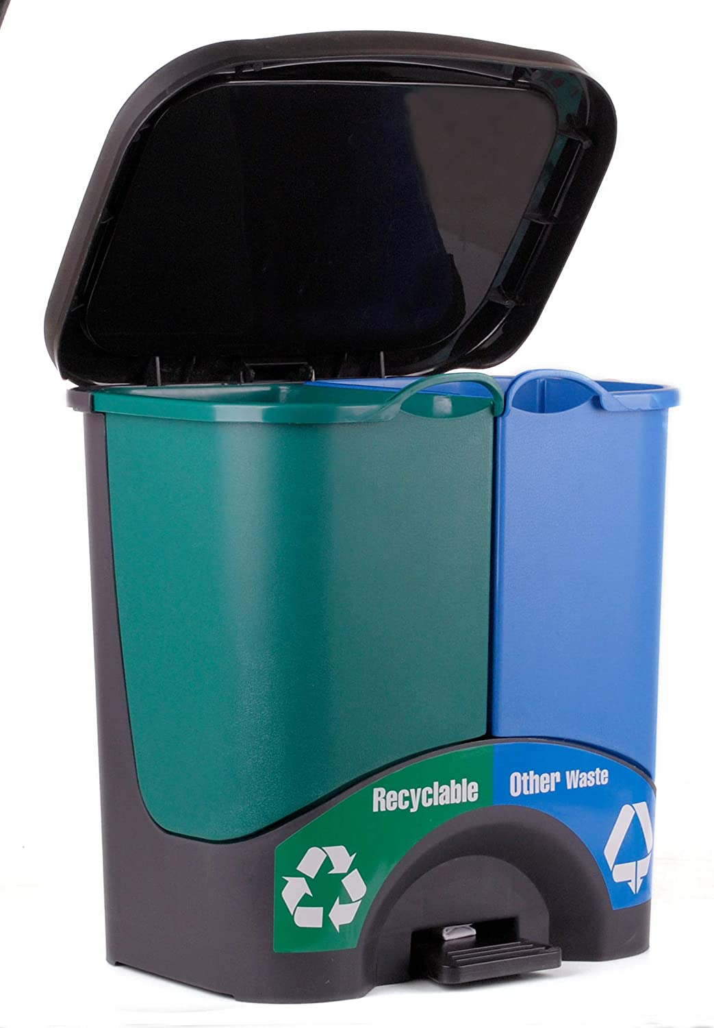"""Mintra Home Trash Bins - Double Bin (Green/Blue) Recycle, Trash, Can, Bin, Garbage, Plastic, Wastebasket, Adjustable, Removable, Home, Office, Durable""""17.5inW x 17.5inH x 10inD"""""""
