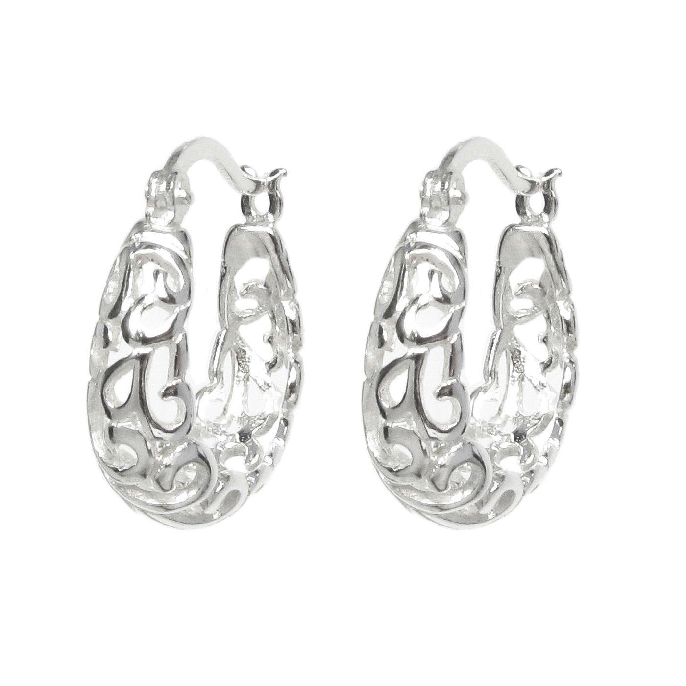 Queenberry 925 Sterling Silver Filigree Flower Ring Hoop Huggie Earrings QE1059-SX2