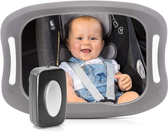 Espejo de seguridad LED para coche color gris Reer 86101 BabyView
