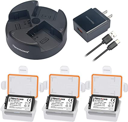 NP-FW50 Newmowa Battery (3-Pack) and QC3.0 AC USB 3-Channel Charger kit for Sony NP-FW50 and Sony Alpha a3000,Alpha a5000,a6000,a6100,a6300,Alpha ...
