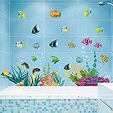 Grandora wandtattoo unterwasserwelt delfin fische badewanne badezimmer bad selbstklebend - Fliesenaufkleber fische ...