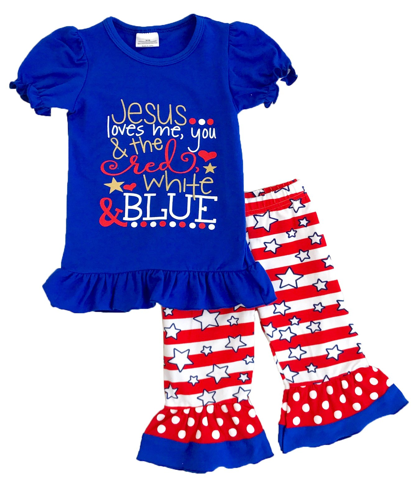 Angeline Girls July 4th Independence Day Capri Set Jesus Loves Me 3T/M