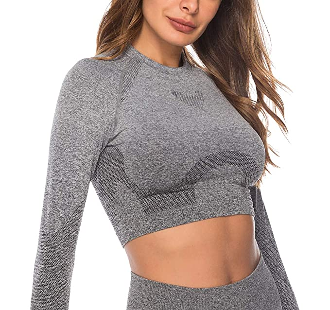 RUNNING GIRL Ombre Seamless Crop Top Long Sleeve Layer Crew Neck Power Stretch Gym Yoga Crop Top with Thumbholes