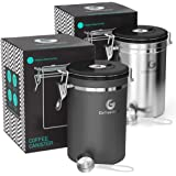 Coffee Gator Flavor-Saving Canister - With Date Tracker, CO2-release Valve and Scoop - Large Discounted 2 pack Grey/Stainless Steel