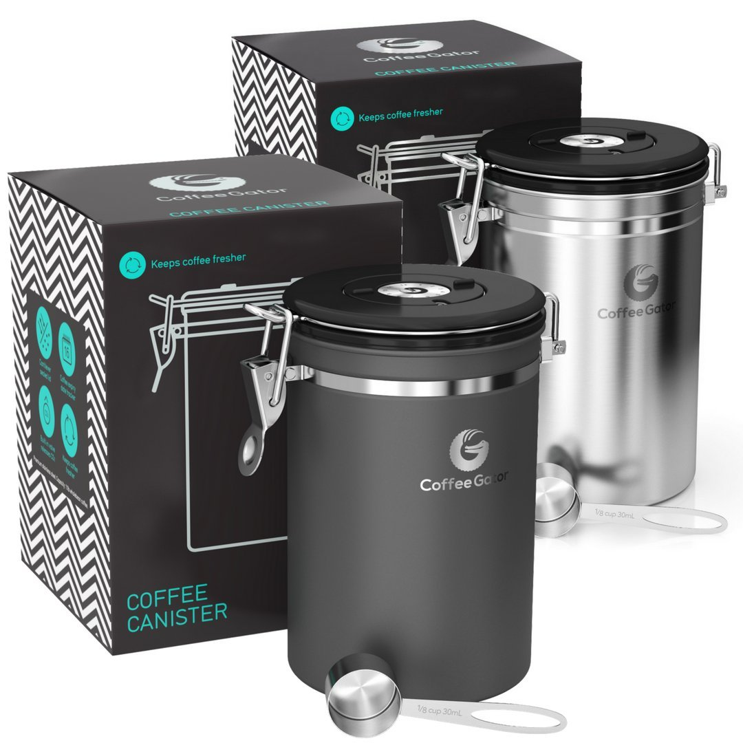 Coffee Gator Stainless Steel Container - Large (Large 2Pack, Grey/Stainless Steel)