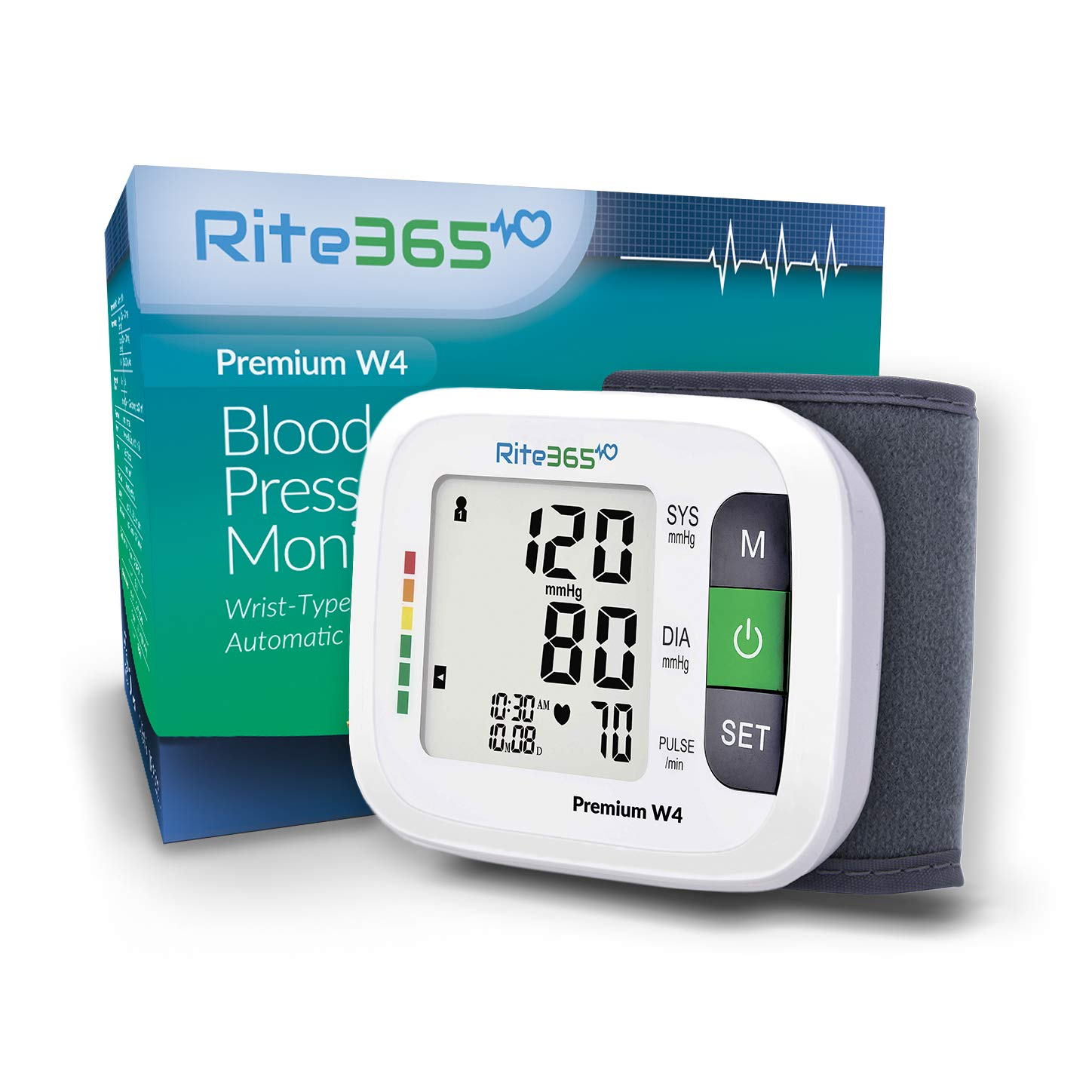 Wrist Blood Pressure Monitor by Rite365 – Automatic -FDA Approved – for Home and Travel – Deluxe Carry Case, Large Easy to Read Font Tonometer -AAA Batteries Included
