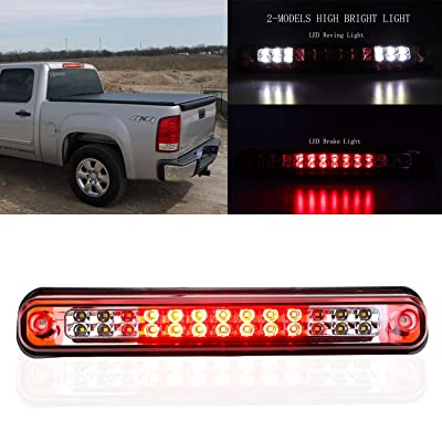Fit for 1988-1998 Chevy Silverado/Chevy GMC C/K C10 1500-3500/GMC Sierra High Mount Brake Light Assembly LED 3rd Brake Lights Cargo Lamp Center Tail Light 16521970 16522433 (Chrome Housing Red Lens): Automotive
