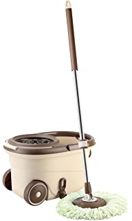 RoMop Easy To Go Stainless Steel Deluxe Rolling Spin Mop, With High-speed Turbo