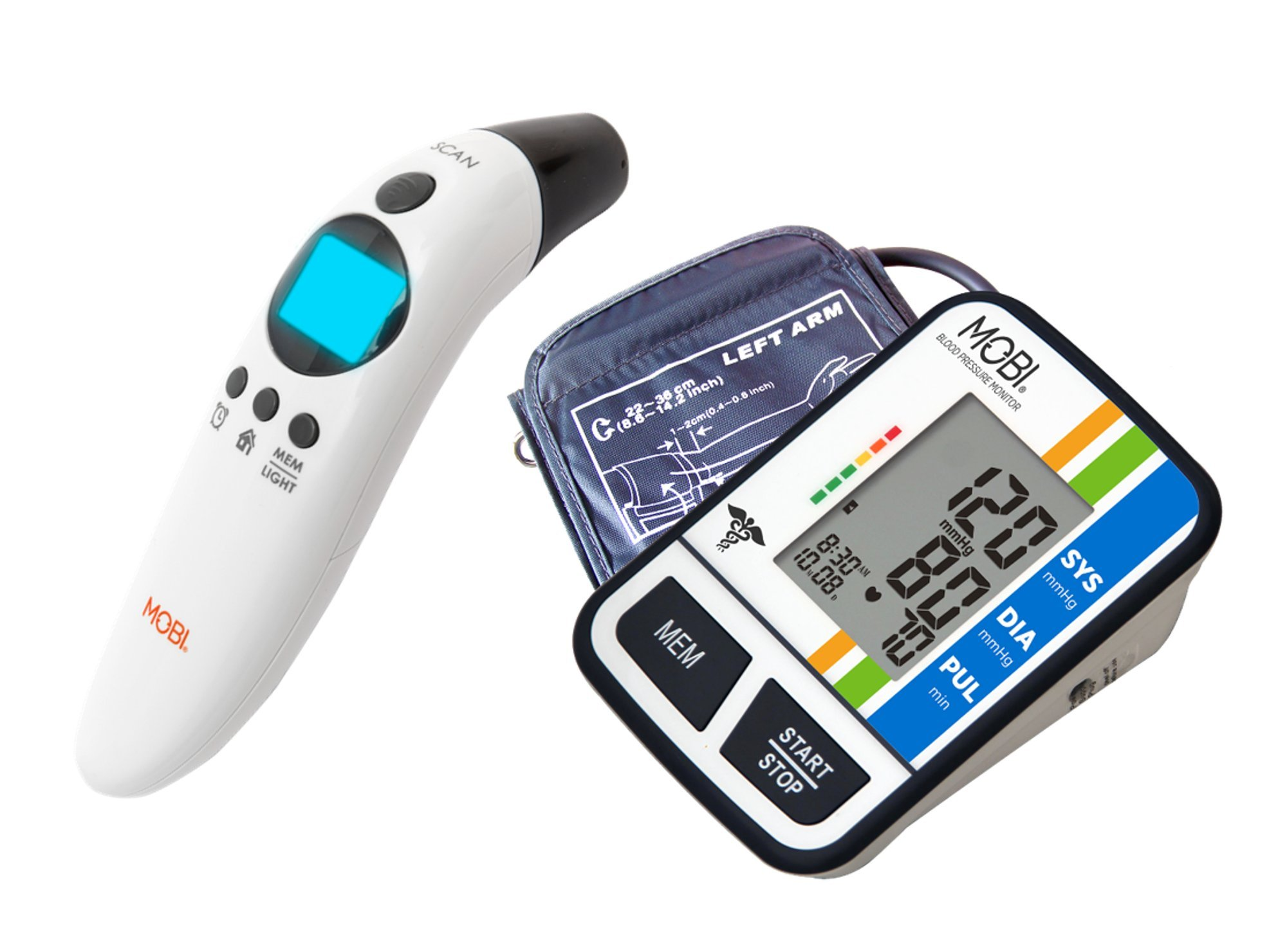 MOBI Health Check Thermometer and Arm Blood Pressure Monitor