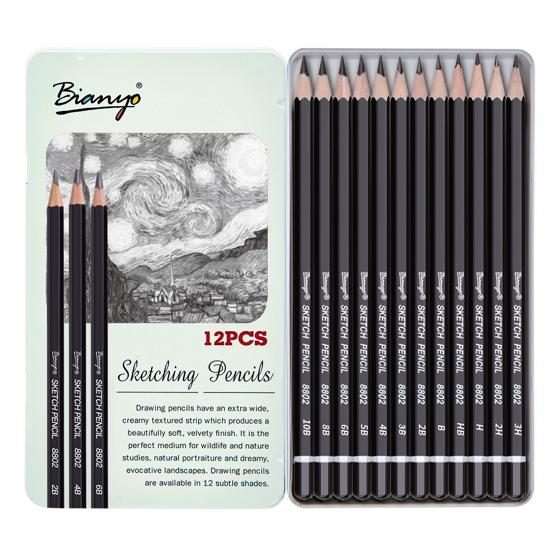 Bianyo artist quality fine art drawing and sketching pencils 3h 2h h hb b 2b 3b 4b 5b 6b 8b 10b 12 piece set amazon in office products