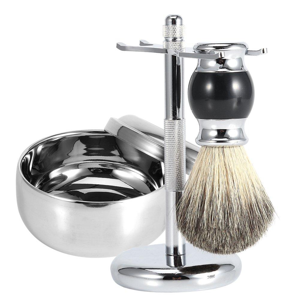 Kit de afeitado para hombres: brocha de afeitar con cerdas de tejón puro + cuenco para jabón de aleación de acero inoxidable + soportes para juego de afeitado ZJchao ZJchao-JM01412-0314