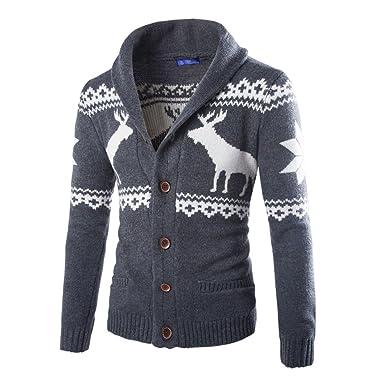 Elecenty Herren Weihnachten Sweatshirt Sweater Strickjacke Cardigan  Christmas Männer Xmas Knitwear Coat Jacket Weihnachtspullover Pullover  Strickpullover f28818aadc