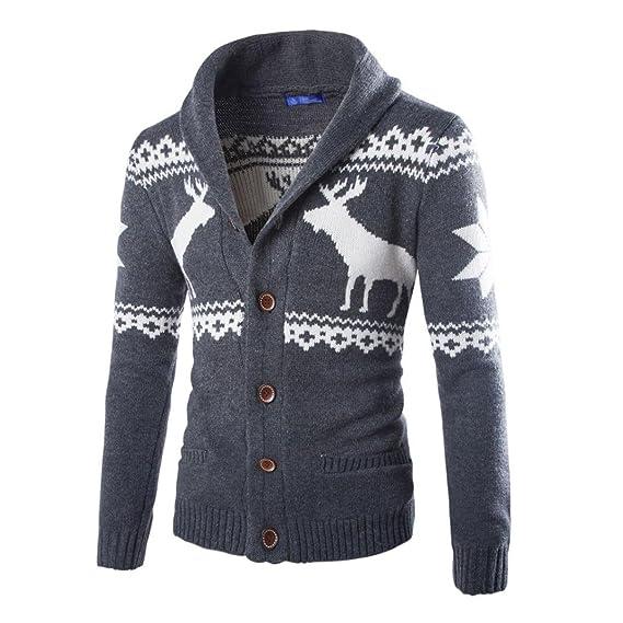 Elecenty Herren Bluse Strickwaren Pullover, Männer Lange
