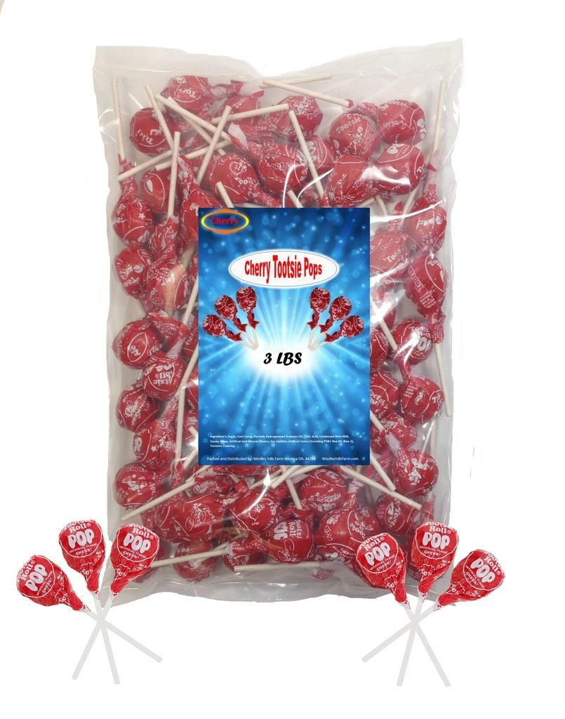 Cherry Tootsie Roll Pops 3 Lbs