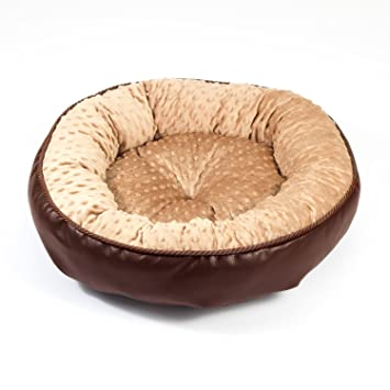 Boutique Zoo – Elegante cama para perros/marrón con beige Minky/cama para perros