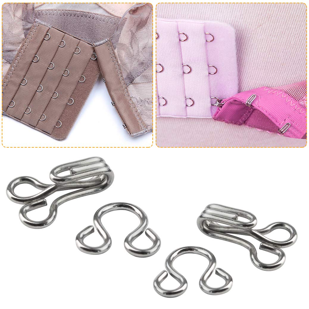mifengdaer 60 Set Sewing Hooks 3 Sizes Metal Eyes Closure Bra Hooks Clothing Fasteners for Bra and Trousers Skirts Clothing Repair (Silver and Black)