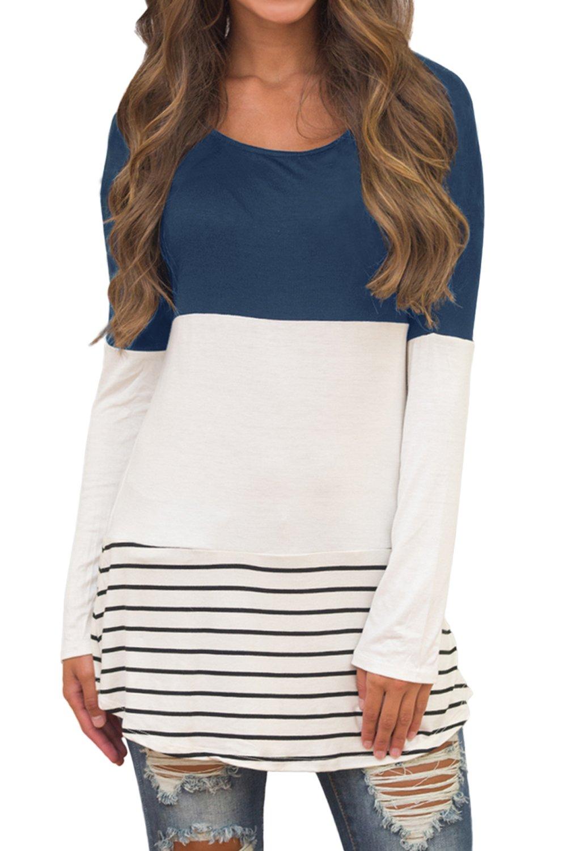 Sherosa Women's Casual Color Block Lace Inset Long Sleeve T Shirt Tunic Tops (L, Blue)