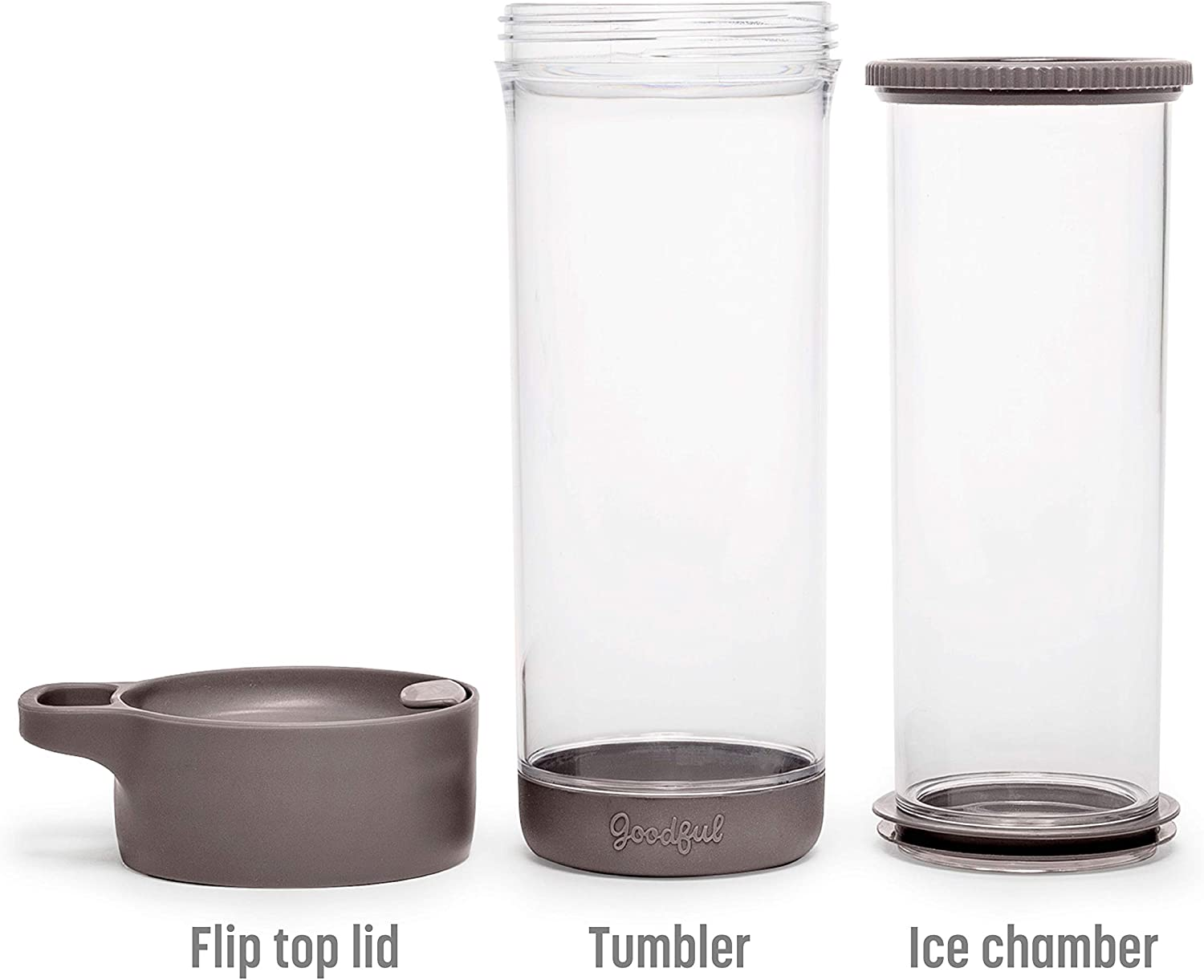 Dishwasher Safe Charcoal Gray Double Wall Travel Mug with Stainless Steel Infuser 16 Ounce Leakproof Goodful Go Iced Tumbler For Loose Leaf or Bagged Teas 16 oz