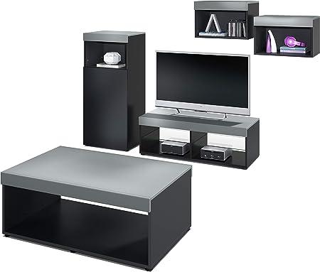 Vladon Conjunto de Muebles Pure para Sala de Estar   Mesa Baja, 2 estanterías, gabinete, Mesa   Cuerpo en Negro Mate/Partes Superiores y Paneles en Grafito Satinado   Amplia selección de Colores: