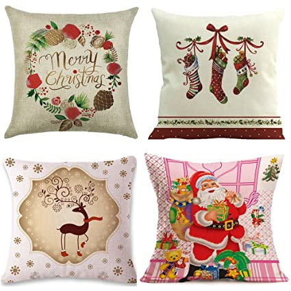 christmas throw pillow covers 18x18 4pack funny decorative pillow covers cute throw pillow case square - Christmas Decorative Pillow Covers