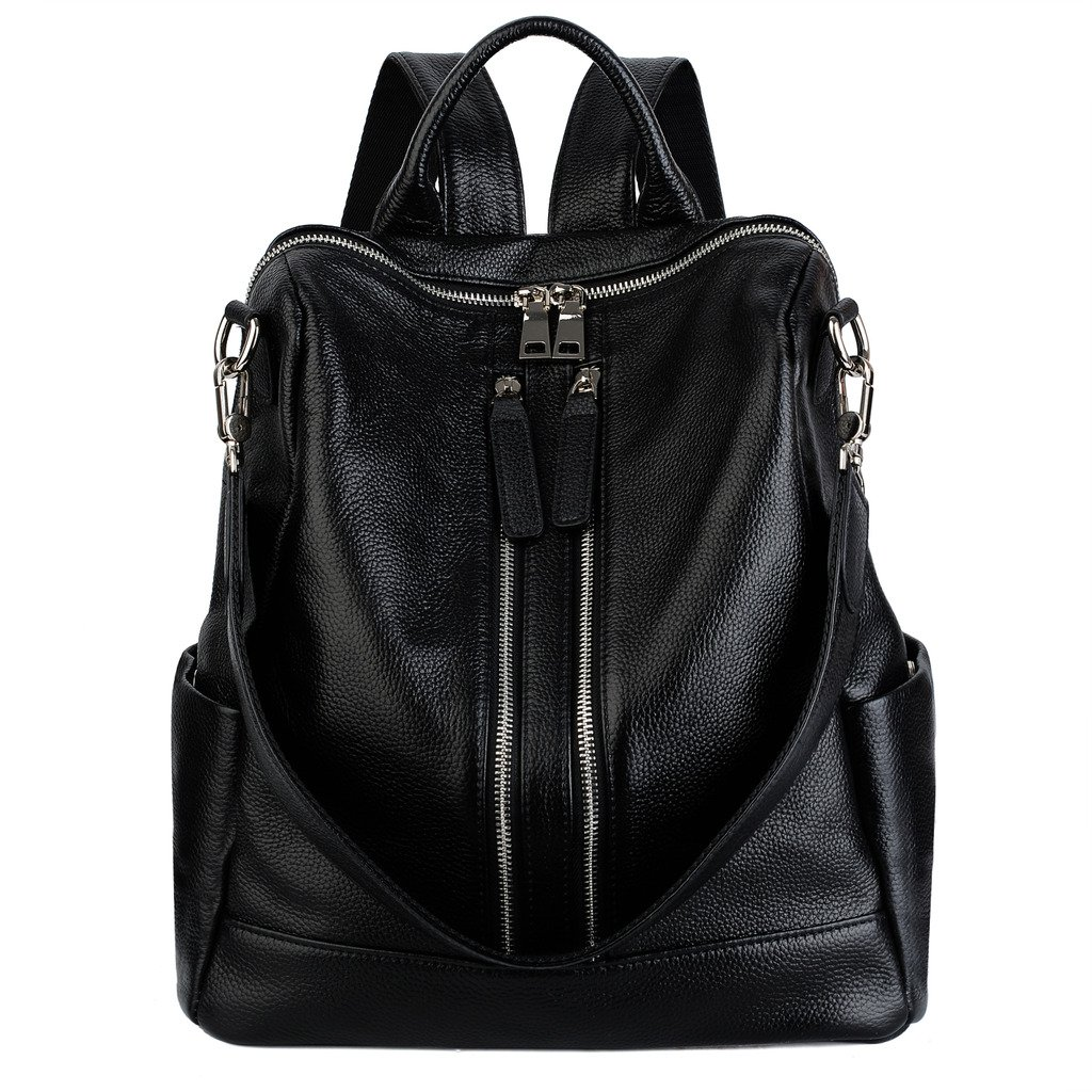 YALUXE Women's Convertible Real Leather Backpack Versatile Shoulder Bag (Upgraded 2.0) Black by YALUXE