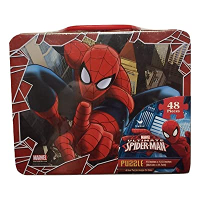 Marvel Spiderman 48 Piece Puzzle in Tin Lunchbox, Red, Blue, White: Toys & Games