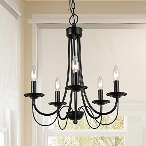 GEPOW Black Farmhouse Chandelier Rustic Pendant Lighting