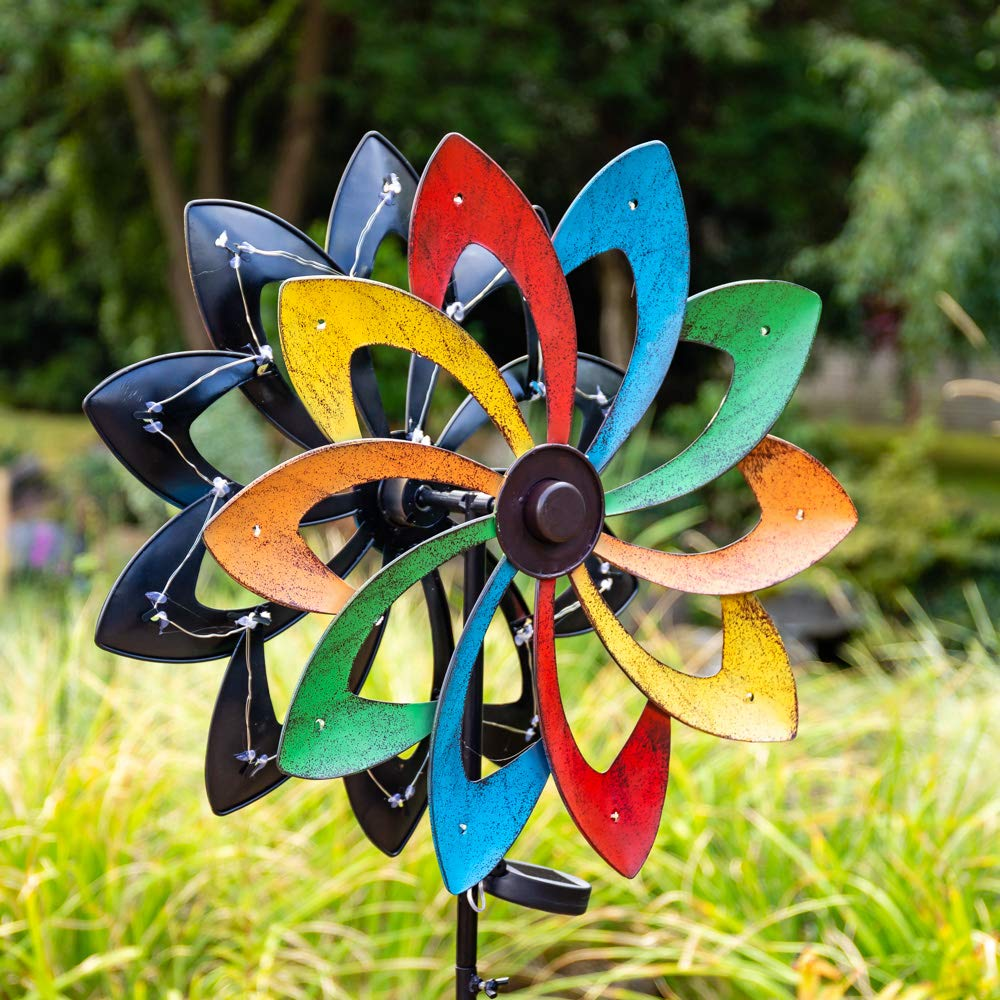 Primrose Shooting Star Wind Spinner with LED lights 45 cm Perfectly Suitable for Any Garden Outdoor Backyard