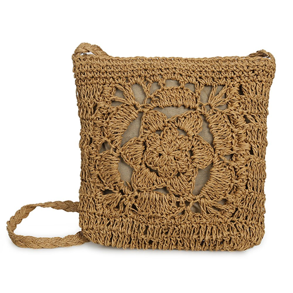 Olyphy straw Square shoulder purse for Women Retro Woven Crossbody Bag crochet Envelope Messenger Satchel for Summer Beach (darkbrown)