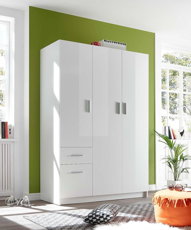 Lifestyle4living Kleiderschrank Hochglanz Weiss 135 Cm