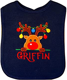 My 1st Christmas Reindeer Embroidered Baby Pull-Over Bib Gift Personalised First