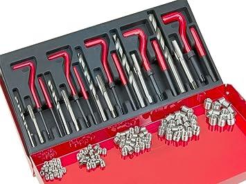 SUNROAD 131pcs Professional Stripped Thread Repair Kit for Restoring Damaged Threads Metric M5 M6 M8 M10 M12