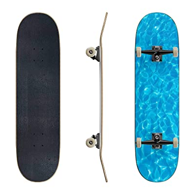 EFTOWEL Skateboards top View Blue Water caustics Background Water Surface Stock Pictures Classic Concave Skateboard Cool Stuff Teen Gifts Longboard Extreme Sports for Beginners and Professionals : Sports & Outdoors