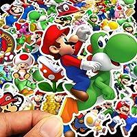 TRRY Super Mario Pegatinas (100 unidades) Anime Impermeables para Portátil, Botella de Agua Coche, Ordenador, Guitarra…