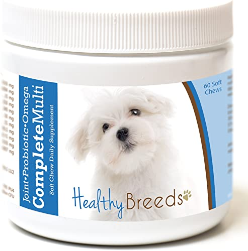Healthy Breeds Complete Multivitamin Soft Chews – Over 200 Breeds – 4 In 1 Daily Supplement – Hip Joint, Probiotic, Omega, Vitamins – 60 or 90 Tasty Chews